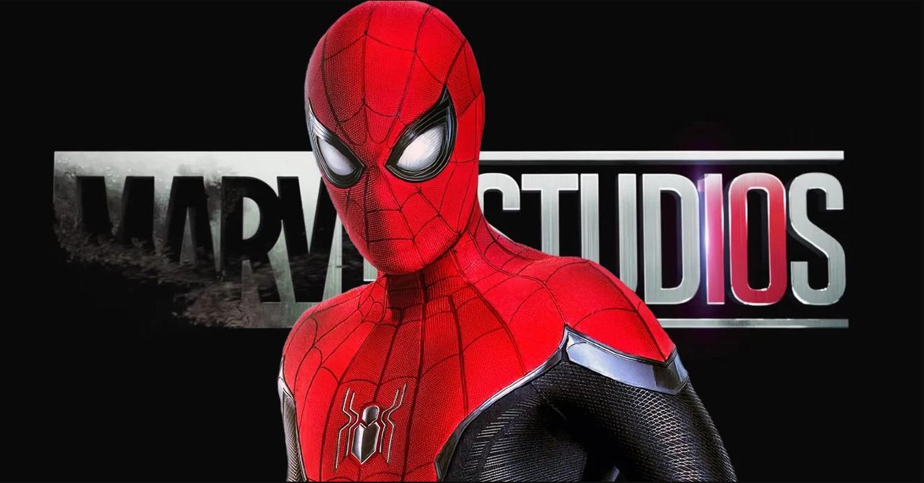 Spiderman infront of Marvel Studios Logo